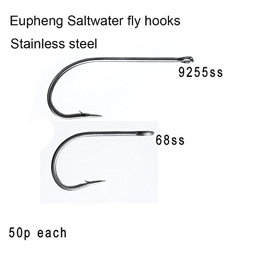 Eupheng 50 pc Pack Plus Best Salt Water Stainless Steel Fly Hook Collection EP-9255 SS O'Shaughnessy EP-68SS Tarpon, Bait Fish, Bone Fish Flies, Freshwater Egg Caddis Flies Hook Sizes (EP-9255SS, 2#) ()