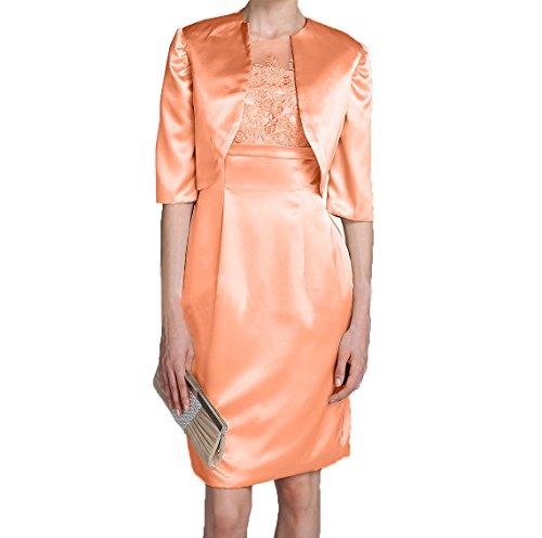Etuikleider Satin mit Elegant Orange Partykleider Abendkleider Brautmutterkleider Damen Langarm Charmant Promkleider Jaket 40wpqxB