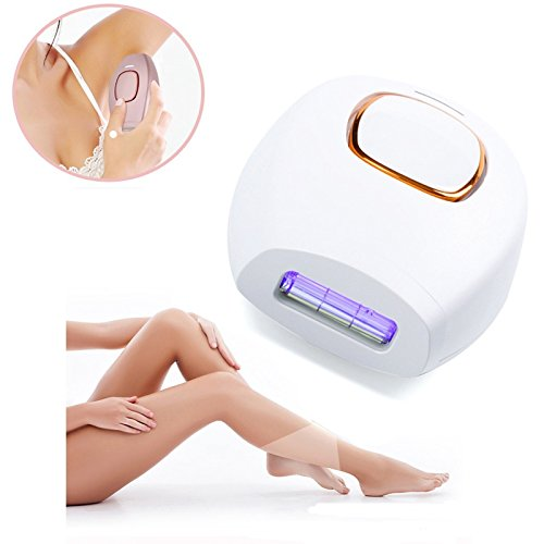 Portable Laser Mini Hair Epilator Permanent Hair Removal Technology 300000 Light IPL Pulsed Whole Body Bikini Leg Laser Hair Removal (White)