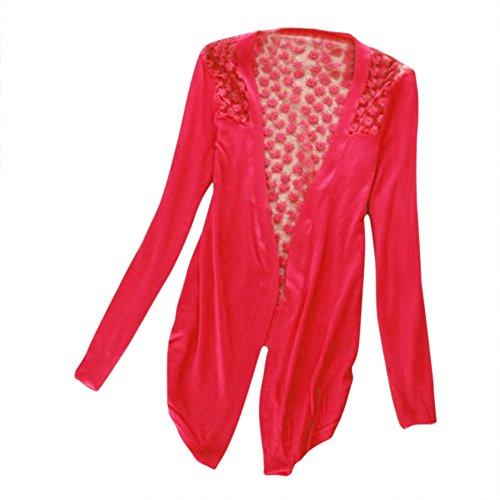SODIAL(R) 2013 Femmes Dentelle Bonbon Sucre Crochet Tricot Top Cardigan Chemise a Manches Longues Rouge Taille Unique