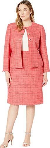 Tahari by ASL Women's Plus Size Boucle Skirt Suit with Gold Finish Trim Coral 18 W -