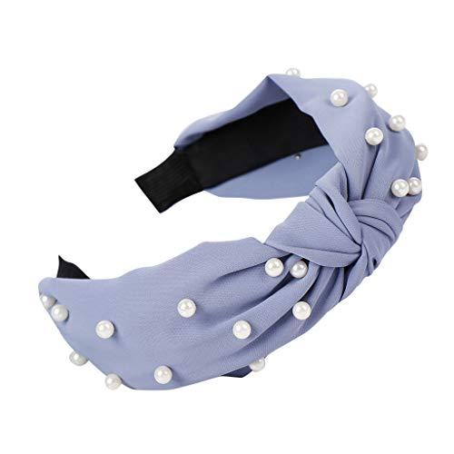 Women Pearl Headbands Wide Headbands Knot Turban Headband 1PC Twisted Faux Pearl Velvet Headband for Girls (Blue)