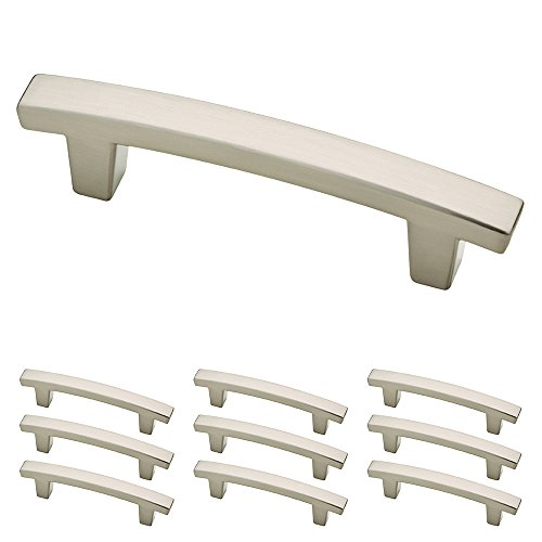 P29519K-SN-B Satin Nickel 3-Inch Pierce Kitchen or Furniture Cabinet Hardware Drawer Handle Pull, 10 pack