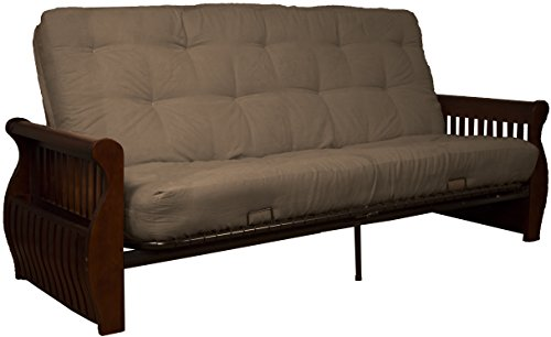 Laguna 8-Inch Loft Inner Spring Futon Sofa Sleeper Bed, Queen-size, Walnut Arm Finish, Microfiber Suede Mocha Brown Upholstery