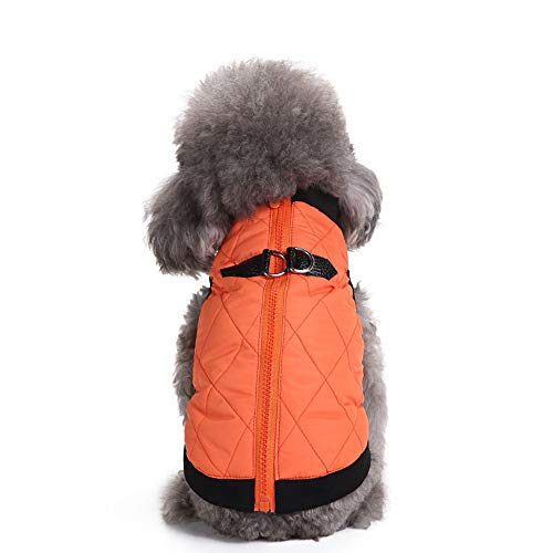 Amaping Pet Puppy Small Dog Clothes Zipper Coral Cotton Warm Vest Shirt Doggy Jacket Coat Apparel Winter Costume (S, Orange) -