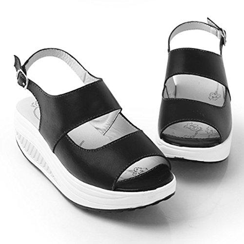 Donyyyy Balanceo inferior grueso zapatos boca de pescado inferior grueso calzado de playa casual femenino Forty