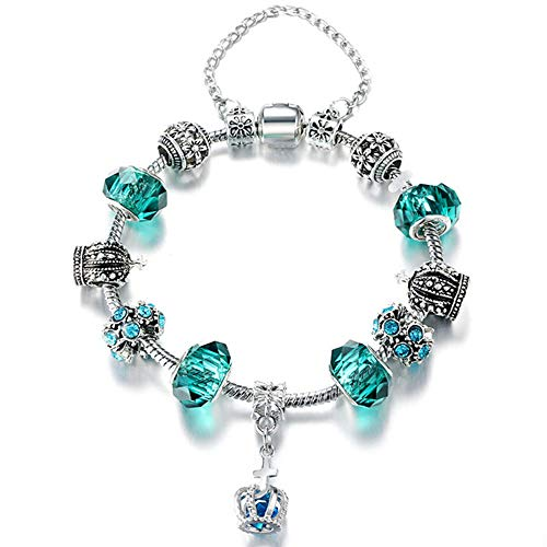 Ashliana Vintage Carved Handmade Glass & Swarovski Elements Crystal Sterling Silver Plated Charm Bracelets in Gift Box (Crystal Plated Charm)