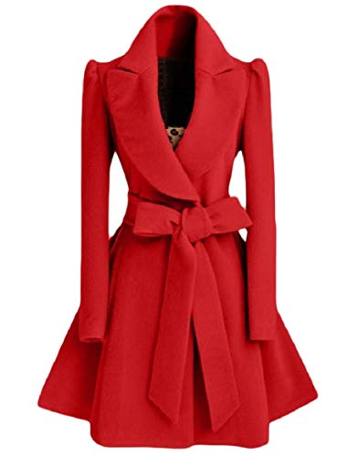 Rkbaoye Rosso Turn Dress Fashion Down Womens Belt Cappotto Slim Collar Outwear rERCrqcP