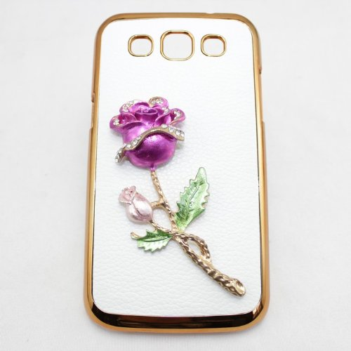 bling 3D case leather peacock bow flower diamond crystal hard back cover for Samsung Galaxy Win Duos i8552 i8550 (rose hotpink)