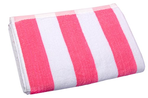 (Hawaii Sticker Company Beach Towel (Choose Color and Pattern) (Pink, Striped))