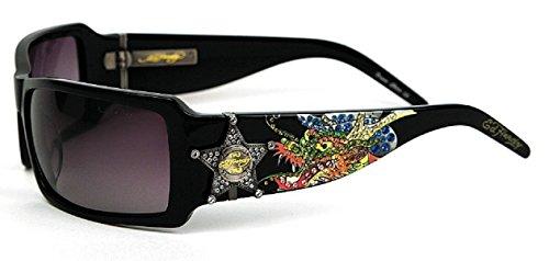 ED HARDY 021 BLACK (Ed Hardy Black Sunglasses)