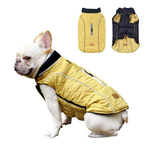 Dog Jacket Waterproof Pet Coat Reversible Windproof Dog Sweater Reflective Strips Winter Warm Puppy Vest for Small Medium Large Dogs Yellow L