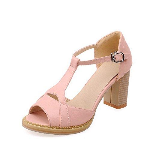 AllhqFashion Womens Pu Solid Buckle Peep Toe Kitten Heels Sandals Pink qMEyP