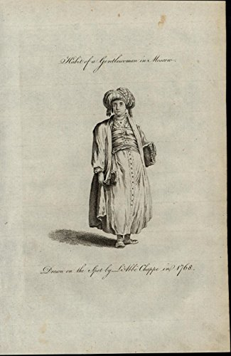 Gentlewoman Costume (Moscow Gentlewoman Robe Coat Head Wrap 1779 antique Ethnic Costume Dress print)