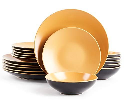 HomeVss Stoneware Two-Tone Colors Life 18pc Dinner Set, Outside Shiny Black + Inside Matte Glaze Curry