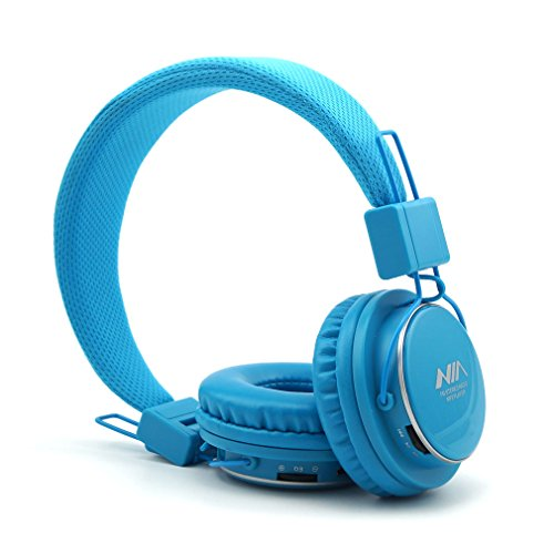 Multifunction Headphones with Radio and Micro SD Card Player, GranVela A809 Foldable Hi Definition Headset with Detachable Cable and in Line Mic for Girls, Boys,Kids and Adults- Sky Blue