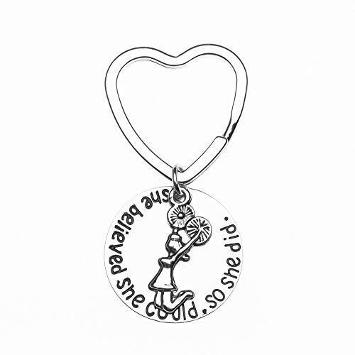 Spirit Custom Bag Cheerleader - Sportybella Cheer Keychain- Girls Cheerleading She Believed She Could So She Did Key Chain, Cheerleader Charm Keychain, Cheer Jewelry for Cheerleaders & Cheer Teams
