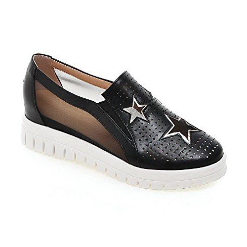 AgooLar Damen Ziehen auf Rund Zehe Mittler Absatz Blend-Materialien Rein Pumps Schuhe Schwarz