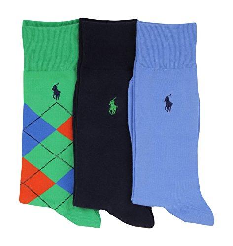 Polo Ralph Lauren Mens Socks Green Argyle/Navy/Blue (pack of (Argyle Polo Dress)