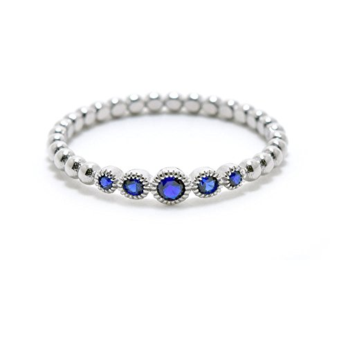 .925 Sterling Silver Beaded Style September Birthstone Cz Stackable Ring by Precious Gem Jewellers