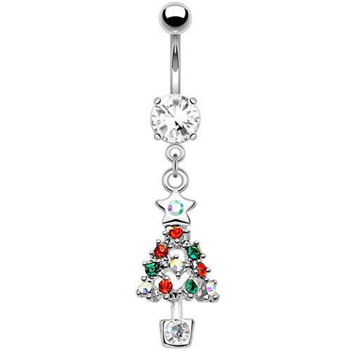 WildKlass Jewelry Multi CZ Christmas Tree Dangle Belly Button Ring 316L Surgical Steel