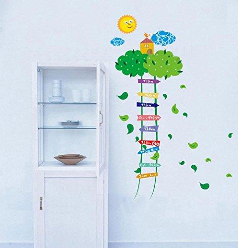 BIBITIME Green Leaves Ladder Height Chart Sun Sky Cloud Birds House Wall Decal Sticker Nursery Growth Charts Colorful Measurement for Kids Room Decor Art Mural (Minimum scale: 90cm;Max:170cm) (Cloud Wallpaper Border)