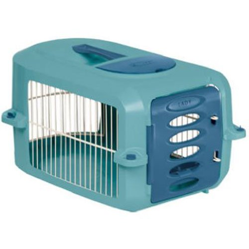 (Suncast Portable Dog Crate with Handle for Small and Medium Dogs - Bowl Included - Stylish and Durable Portable Pet Carrier - Dogs up to 20 lbs. - Light Blue)