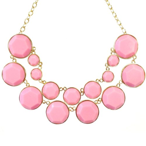 Wrapables Designer Inspired Double Layer Bubble Necklace, Light Pink -