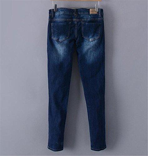 Byjia Damen Jeans. Die Tiefblauen Langen Tastendruck Lose Volltonfarbe Zerstört Entspannt Fit Jeans Mit Geradem Bein