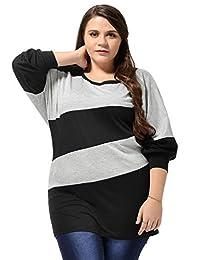 Allegra K Women Plus Size Color Block Dolman Sleeves Scoop Neck Tunic Top