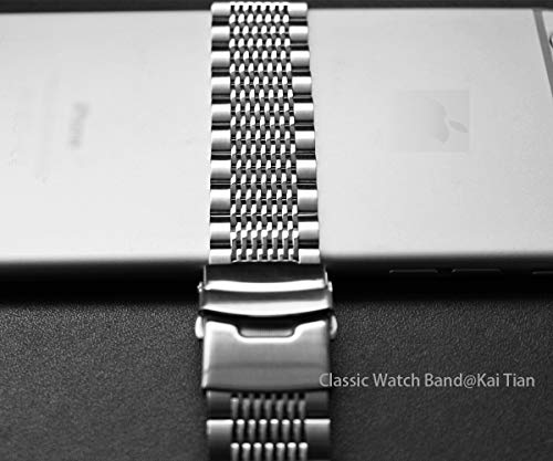 Solid Stainless Steel Watch Bracelet Mesh Band Wristband 22mm Silver with Push Button Deployment Clasp by Kai Tian (Image #5)