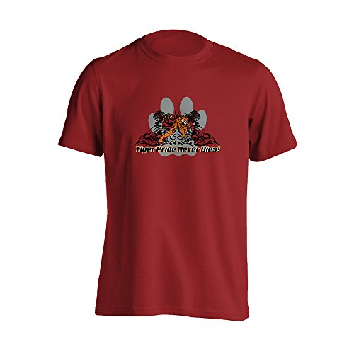 YGS-04-0244-XL-SS-M - Tigers Pride Never Dies High School Mascot - Red - X-Large - Short Sleeve T-Shirt