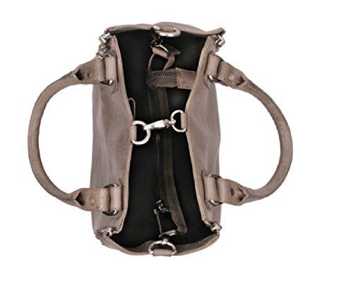 Bull & Hunt Damen Handtasche Tasche Jackie medium grau-silber Umhängetasche Leder Damen