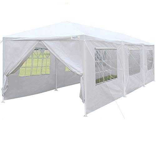 Quictent 10' x 30' Upgraded Heavy Duty Steel Pipes Canopy Gazebo Wedding Party Tent with Elegant Church Window& Rollable Window Cover ()