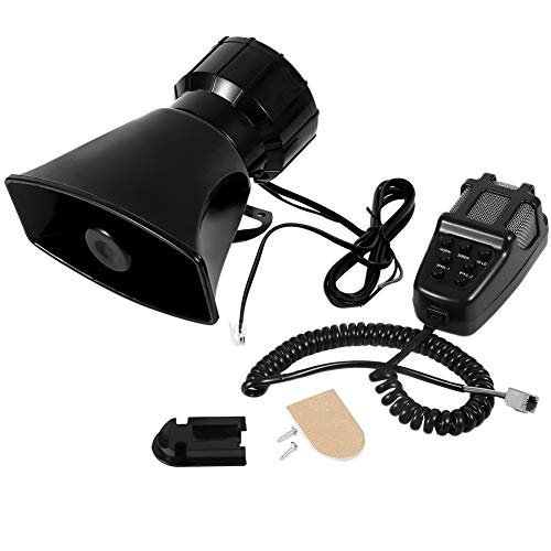 Clauking Loud Horn Siren, 100W 12V 7 Tones Car Siren Speaker with Sound of 110dB-120dB and Mic PA Speaker System for Car Boat Motorcycle Van Truck