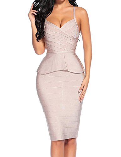 (houstil Women's V Neck Spaghetti 2 Pieces Set Bandage Bodycon Party Dress (S, Nude))