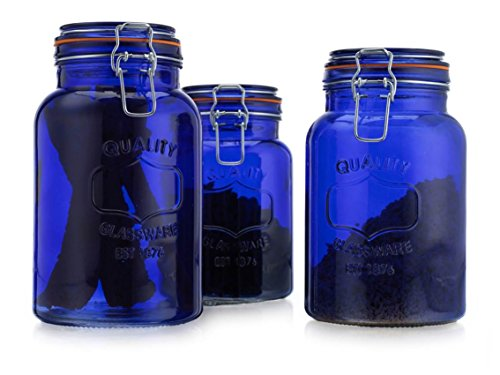 01cd7b652d43 American Reproductions Glass Canister Quality Set of 3 Blue Round Jar with  Hermetic Seal Bail & Trigger Airtight Lock for Kitchen - Food Storage ...