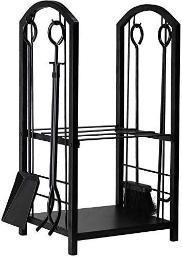 Amagabeli Firewood Rack Fireplace Tool Rack Indoor Wood Holders Fireplace Outdoor Log Holder Rack Lumber Storage Stacking Black Stove Wrought Iron Large Logs Bin Fireplace Tools Set Tongs Accessories