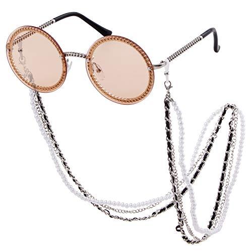 (Round Rhinestone Sunglasses Women Metal Frame With Crystal ShadesSummer Sun glasses (Silver/Light Tea+ Silver Chain, 61))