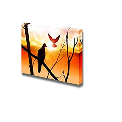 Canvas Prints Wall Art - Silhouette of Birds at Sunrise - 16