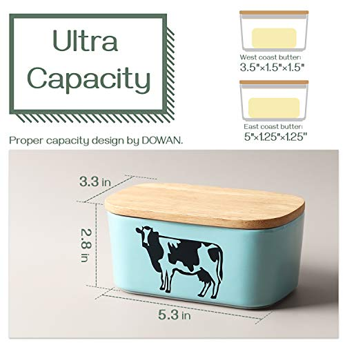 DOWAN Porcelain Butter Dish with Lid, Airtight Butter Container (Large Butter Dish), Cow Butter Dish, Blue
