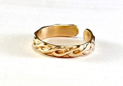 Sterling Silver 14K Gold Filled Braid Band Adjustable Big Toe Ring