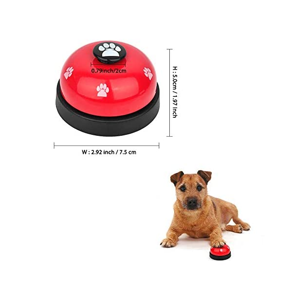 SlowTon Pet Doorbells, 2 Pack Metal Bell Dog Training with Non Skid Rubber Bottoms Puppy Door Bell for Potty Training and Communication Device with Clear Ring Paw Size Button for Small Doggie Cats 7