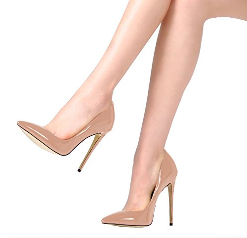 SexyPrey Women's Big Size Patent Stiletto High Heels Pointed Toe Pumps Court Shoes for Party Dress Nude gBAOgo6HaR