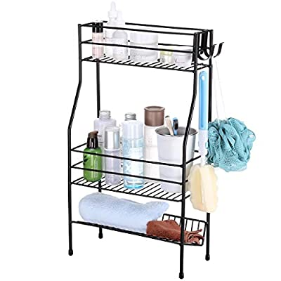 Bathroom Countertop Storage Organizer, Rackaphile 3 Tier Metal Kitchen Bathroom Storage Spice Cosmetic Bottle Jar Organizer Rack Standing Shelf, Black - ★【DECLUTTERS YOUR COUNTERTOP】 3-tier design with 2 removable hooks is perfect for bathroom, kitchen, pantry or craft room; 10-inch clearance between the top and second tier makes it perfect for higher items. ★【EXTRA-HIGH SIDE RAILS】The upper two shelves have extra-high side rails to prevent items from falling off the rack. ★【SLANTED BOTTOM SHELF】The bottom shelf is sloped with raised rear edge keeps items easily accessible yet still securely in place. - shelves-cabinets, bathroom-fixtures-hardware, bathroom - 41gC4sP2ZiL. SS400  -