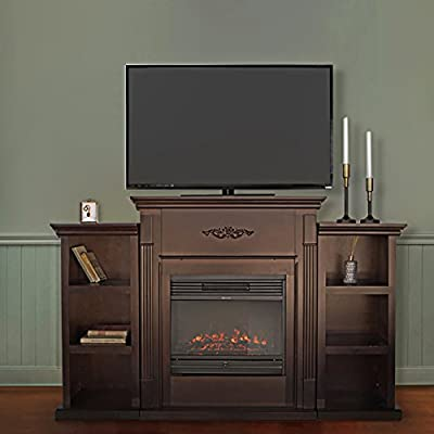 XtremepowerUS Electric Portable Fireplace w/ TV Stand, Bookcases, large