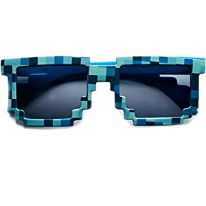 Block 8-bit Pixel Sunglasses Video Game Geek Party Favors (Pixel-Blue, Black)