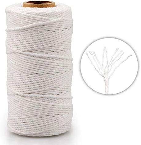 G2PLUS 100M White Cotton String Twine DIY Crafts and Handmade Butchers 3 Ply Craft Cotton Thread Durable Twine Perfect for Baking 2MM Cotton Bakers Twine