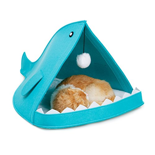 Patgoal Felt Foldable Portable House, Pet Shark Type House Bed Animal Cave Nest for Dog Cat Blue by Patgoal