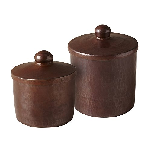 2 Piece Native Trails Cotton Ball and Swab Holders, Antique Copper Finish